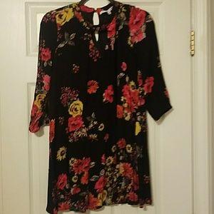 3/4 Sleeve Flower Pattern Dress